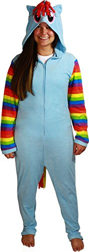 Briefly Stated Women's Rainbow Dash Union Suit, Light Blue, -