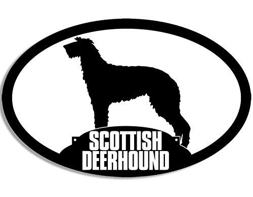 (American Vinyl Oval Scottish Deerhound Silhouette Sticker (Dog Large Breed))