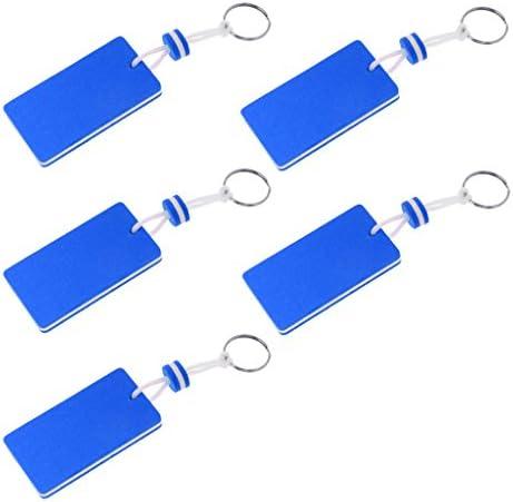 キーチェーン フローティング キーリング 長方形 浮遊 キーホルダー ボート カヤック用 青色 5個