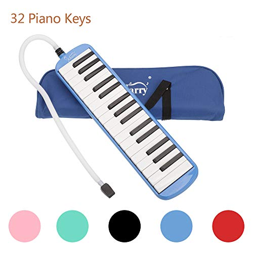 32 Key Melodica Piano Keyboard Style with Mouthpiece Hose Tube Set Carrying Bag for Music Lovers Beginners Blue