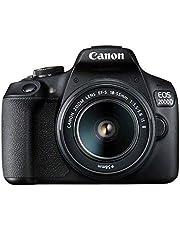 كاميرا كانون اس ال ار، 24.1 ميجا بيكسل، تكبير بصري 9x وشاشة 3 بوصة - كانون EOS 2000D