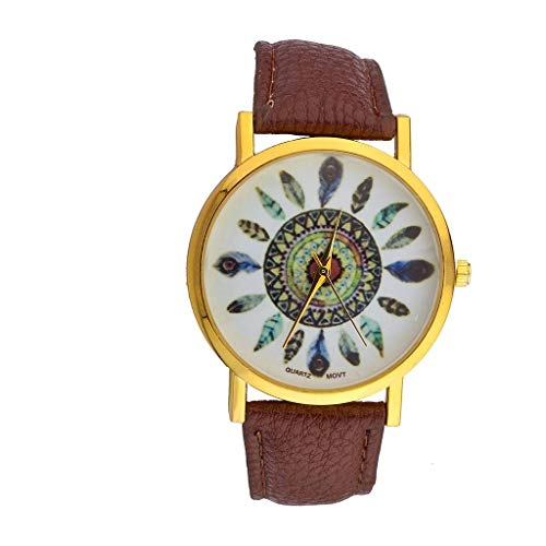 Lux Accessories Brown Tribal Dreamcatcher Leaf Feather Bracelet Analog Sports Quartz Wrist Watch from Lux Accessories