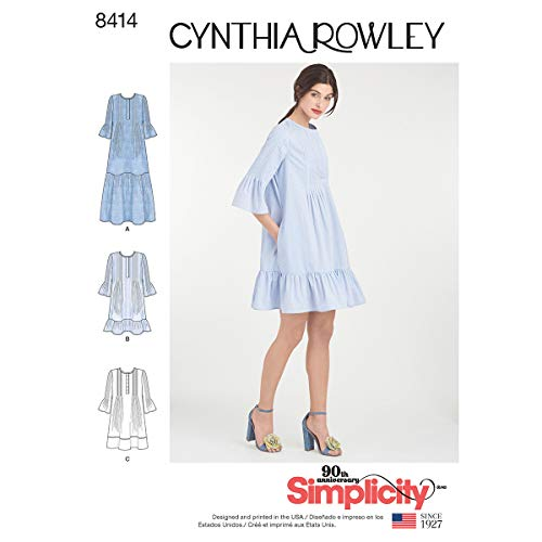 Simplicity Pattern 8414 Misses' Pintuck Ruffle Dress by Cynthia Rowley, Size ()