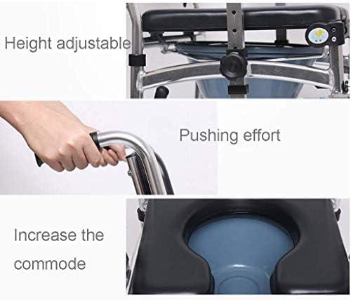 GBX Beweglich Faltbare Durablefolding Potty Wc Stuhl, Rollstuhl Dusche Kopfendecommode Stuhl | Mit Gepolsterten Sitz, Bremsen Und Fußstützen | Abschließbare Bremsen | Ergonomische Rückenlehne