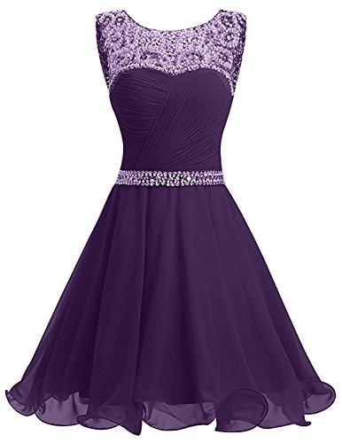 Braut Abendkleider Kurzes Damen Kleider Violett Chiffon La Jugendweihe Partykleider mia Festlichkleider Schwarz Pailletten 5YzwCTxq