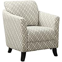 Monarch Specialties Sandstone/Grey Maze Fabric Accent Chair, 35-Inch