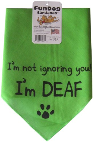 Fun Dog Bandanas I'm Not Ignoring You I'm Deaf Bandana for Dogs, 22 by 22 by 31-Inch