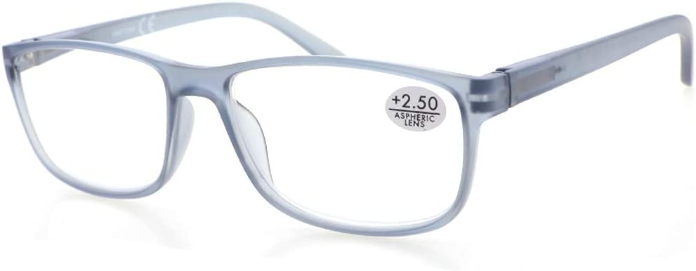 2 Gafas de Lectura Presbicia PANTONA, Vista Cansada con Filtro Anti Luz Azul. Cristales Anti-reflejantes. Gafas Graduadas de Lectura para Hombre y Mujer. 6 colores y 7 graduaciones. Montura gris