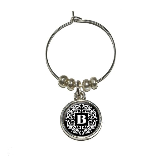 Letter B Initial Black and White Scrolls Wine Glass Charm Drink Stem Marker Ring