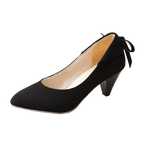 Allhqfashion Dames Gematteerde Pull-on Gesloten-teen Kitten-hakken Stevige Pumps-schoenen Zwart