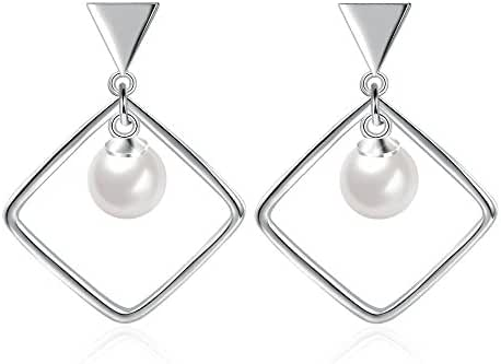 Jasellia 18K White Gold Plated Sterling Silver Single Rhombus with Cream Pearl Dangle Earrings