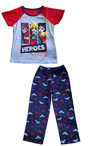 Royal Girls DC Super Hero Girls' 2-Piece Pajama Set Blue Girl Power Wonder Woman, Supergirl, Batgirll (S) ()