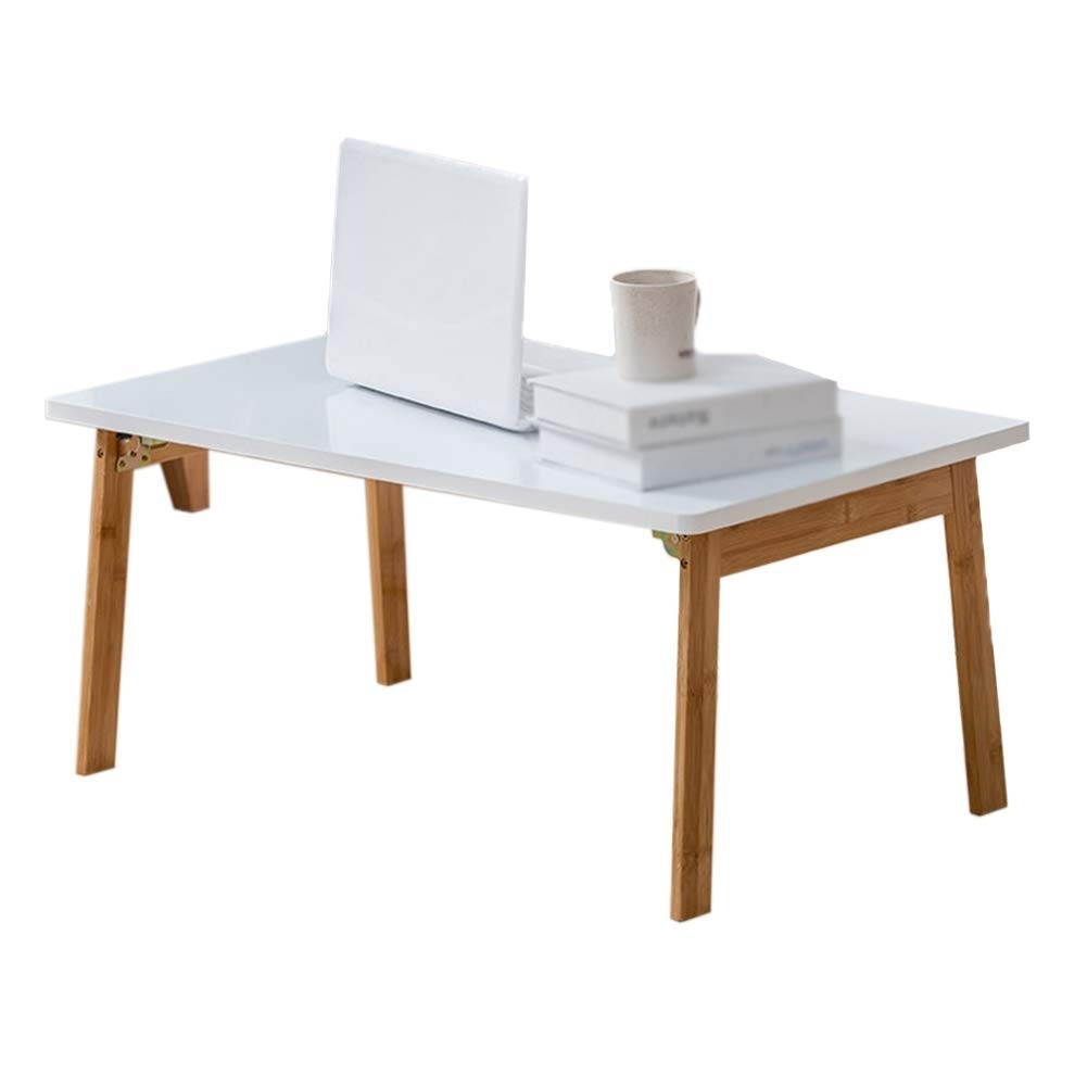 Folding Desk and Household White Table, Student Mobile Computer Lazy Table Bedroom Bed Notebook Table 70×40×31cm