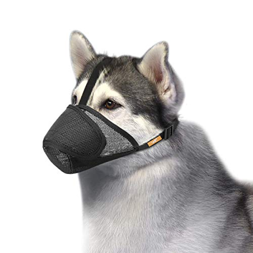 (Petburg Dog Muzzle Mesh with Overhead Strap, No Lick Dog Mask Mouth Guard Muzzle for Dogs Prevent Biting Chewing (M) )