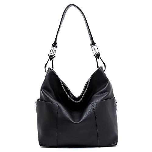 Hobo Style Purses - Americana Bucket Style Hobo Shoulder Bag with Big Snap Hook Hardware and Side Zipper Pocket
