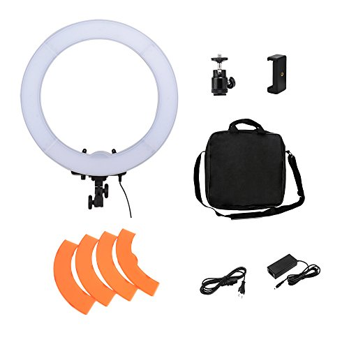 BONFOTO 18'' 55W 5500K Dimmable LED Photography YouTube Live Anchor Fill Ring Light, Phone Clamp, Ball Head and Filter Adjustable for Makeup,Camera Smartphone Photo/Video,Portrait photography Shooting by BONFOTO