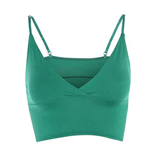 Womens Top Vest Girls Bra Sleeveless Ladies V Neck Wrap Over Crop Top Summer Fashion Women 2019 Under $10 Green