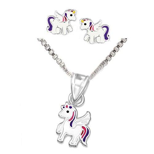 Conjunto de pendientes y colgante infantiles SL-Silver de unicornio de plata de ley 925 en cajita de regalo