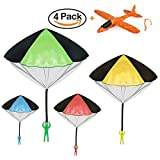 VCOSTORE Parachute Toy Soldier, 4 Pieces Tangle Free Throwing Parachute Toy + 1 Manual Slingshot Foam Glider Plane Perfect Watch Landing Outdoor Games Toys Set for Kids