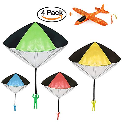 VCOSTORE Parachute Toy Soldier, 4 Pieces Tangle Free Throwing Parachute Toy + 1 Manual Slingshot Foam Glider Plane Perfect Watch Landing Outdoor Games Toys Set for Kids by VCOSTORE