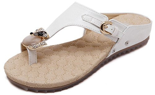 Glamour White Faux Leather - Summer Glitter Rhinestones Flat Sandals, White, Toe Strap Fashion Slippers, Cute Blingbling Fox Gem Gold Buckle Faux Leather Prime Simple Shoes, Comfy Cushion Massage Anti-Skid, Glamour Beach Match
