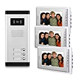 AMOCAM 3 Units Apartment Video Intercom System, Wired Video Door Phone Kit, 1 PCS Night Vision Camera, 3 PCS LCD 7 Inches Monitor, Support Monitoring, Unlock, Dual Way Intercom, for 3-Household