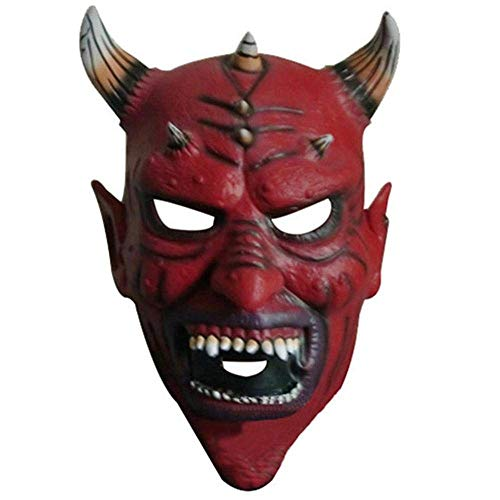 Halloween Party Cosplay Latex Horror Red Ox Horn Devil Head Mask Demon Face Mask King Latex Full Face Ghost Mask