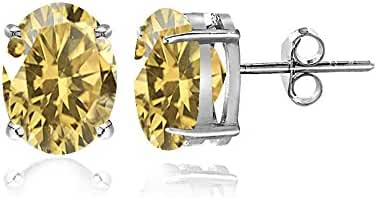 Sterling Silver Citrine Oval Shaped Prong-Set Stud Earrings