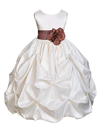Ivory Satin Taffeta Pick-Up Bubble Flower Girl Dresses Holy Communion Dress Baptism Dresses 301S -