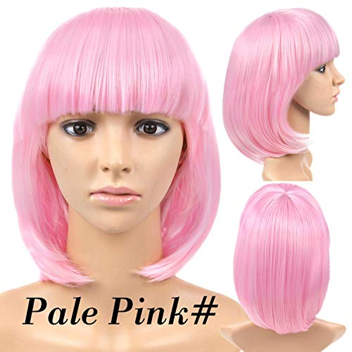 betterluse Short Straight Hair Wigs Women'S Bob Style Full Head Wig Heat Resistant Synthetic Real Thick Black Brown Blonde Hair,Pink,14inches ()