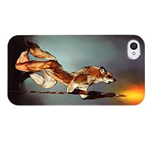 DUR Night Wolf and Torch Pattern ABS Back Case for iPhone 4/4S