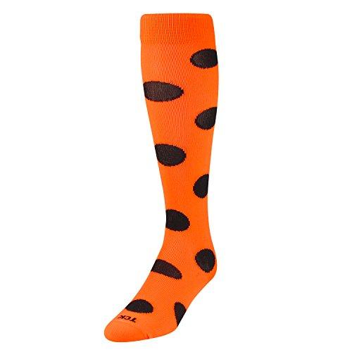 TCK Krazisox Polka Dot Over The Calf Socks, Neon Orange/Black, Small -