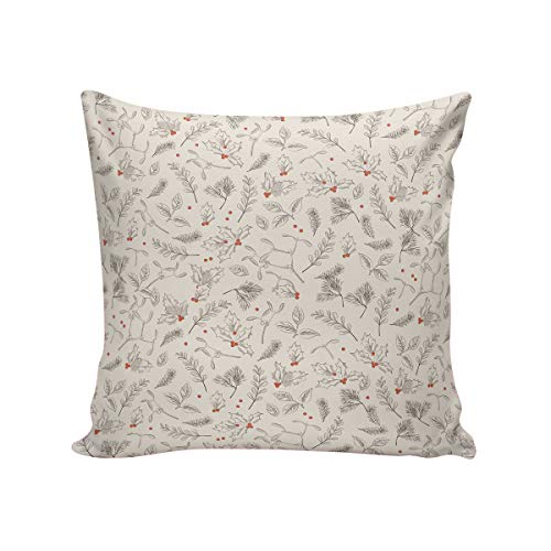 Satin Pillowcase, Hypoallergenic Anti-Aging Double-Side Case with Zipper Reduces Respiratory Irritation and Allergies, Mistletoe Pinecone Hazelnut Pattern 24 in x 24 ()