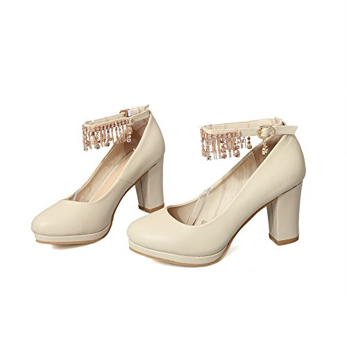 VogueZone009 Women's Kitten-Heels Solid Buckle Blend Materials Round Closed Toe Pumps-Shoes Beige mpKlawh8