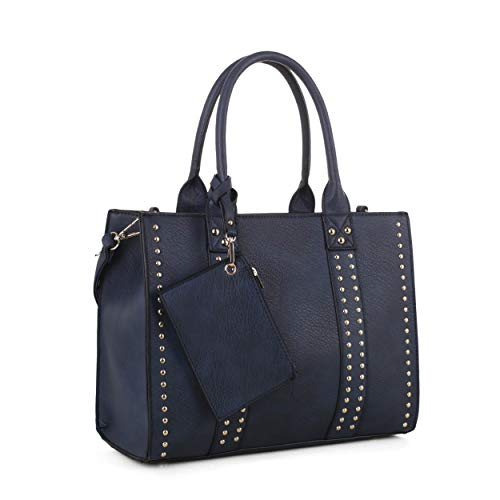 Jessie & James   Concealed Carry Top Handle Handbag   Faux Leather Locking Firearm Purse   Crossbody with Stud Accent   Navy