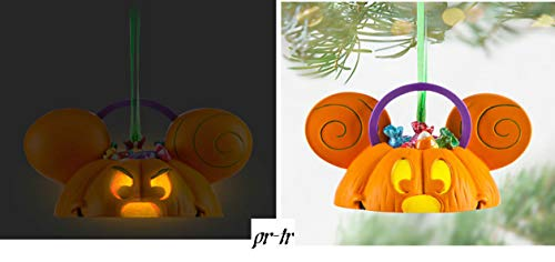 Disney Parks Reversible Mickey Light-Up Ear Hat Halloween Pumpkin Ornament -