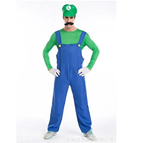 Super Mario Themed Costumes - Halloween Costume Cosplay Super Mario Brothers Mario Adult Costume (Green&Blue, Size- XL )