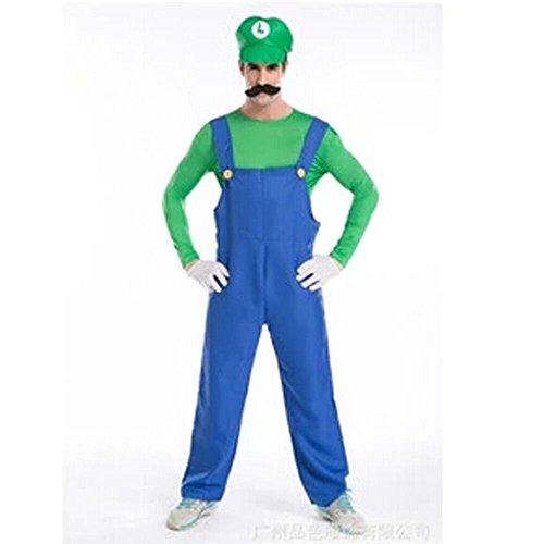 Halloween Costume Cosplay Super Mario Brothers Mario Adult Costume, Green Large - Costume Brothers