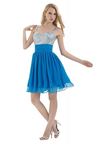 Kleid GEORGE BRIDE Spaghetti Blau Bling Chiffon Cocktail Buegel Bling kurzes qFq47