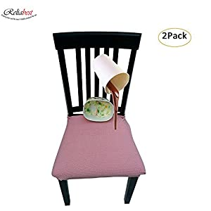 Waterproof Dining Chair Cover Protector - Pack of 2 - Perfect For Pets, Kids, Elderly, Wedding, Party - Machine Washable, Elastic, Removable, Premium Quality, Clean the Mess Easily (pink)