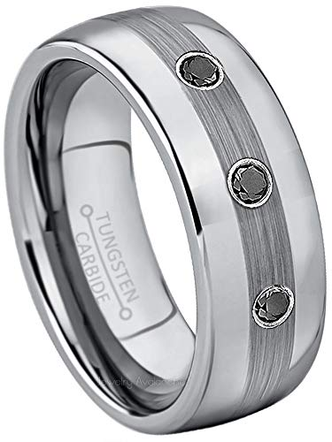 Jewelry Avalanche 0.21ctw Black Diamond 3-Stone Tungsten Ring - April Birthstone Ring - 8MM Comfort Fit Matte 2-Tone Black & Rose Gold Stepped Edge Tungsten Carbide Wedding Band -