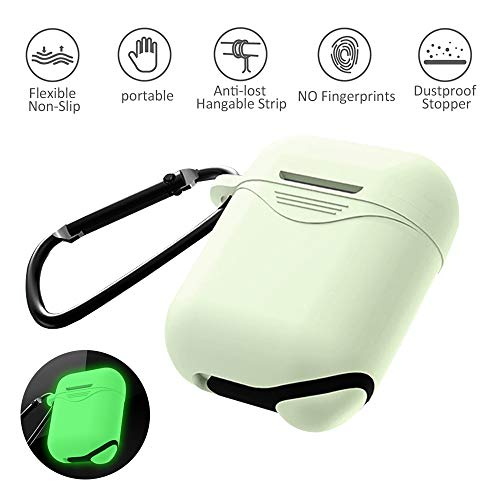 Airpod Holder Case,Shockproof and Drop Proof Apple AirPods 1st/2nd Generation Case Cover Protective Skin, Anti-Lost Carabiner, Silicone Sealing, Charging - Florescent-in-The-Dark