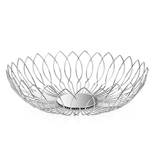 Modern Countertop Stainless Steel Wire Fruit Basket Bowl for Kitchen Storage Vgetable Braed, Lanejoy
