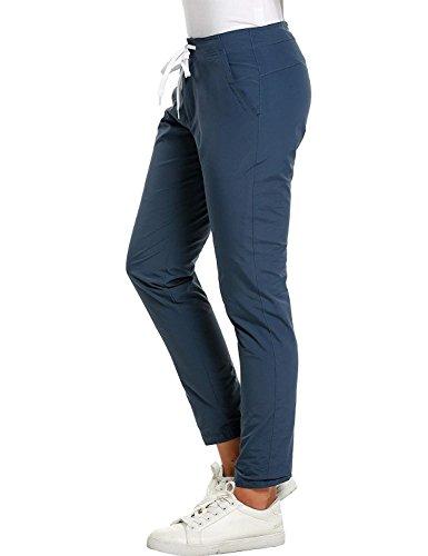 Pantaloni Waist High Pantaloni Pants Tempo Monocromochic Coulisse Elegante Jogging Leggings Sport Moda Libero Donna Autunno Primaverile Blau Lounayy Casuale Con Uavw86q