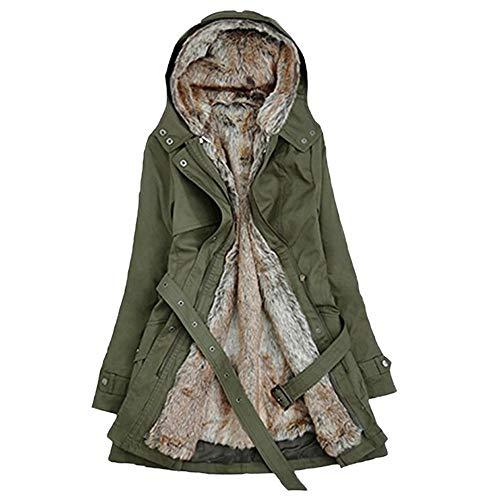 - vermers Women Coats Winter, Womens Warm Long Coat Fur Collar Hooded Jacket Slim Parka Outwear(US:14/3XL, z-Green)