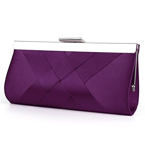 Bidear Satin Evening Bag Clutch, Party Purse, Wedding Handbag with Chain Strap for Women Girl (Purple)