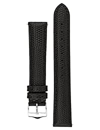 Signature Dragon watch band. Replacement watch strap. Genuine leather. Silver Buckle (18 mm, Black)