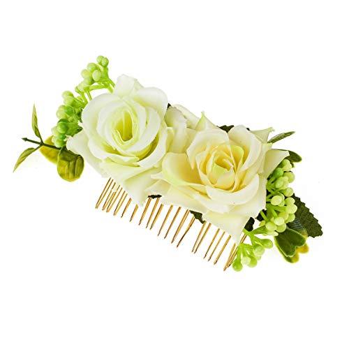 June Bloomy Bridal Rose Flower Headpiece Greenery Succulents Wedding Hair Comb (Beige)