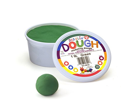 Natural Modeling Dough - Hygloss Products Kids Unscented Dazzlin' Modeling Play Dough, 1lb, Green, 1 Piece