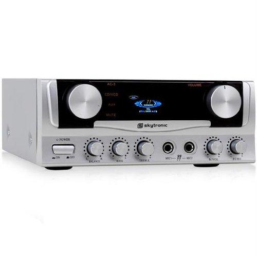 Skytec Audio-Kompakt-Verstärker 400 Watt PA-Amplifier für Karaoke zuhause (2 Mic-Anschlüsse, Echo-Effekt, 3x Stereo, 2x Cinch, LED) silber